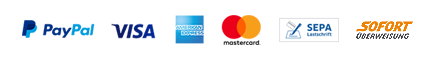 bezahlungsarten-grafik: PayPal, Visa, AmericanExpress, Mastercard, SEPA, Sofort