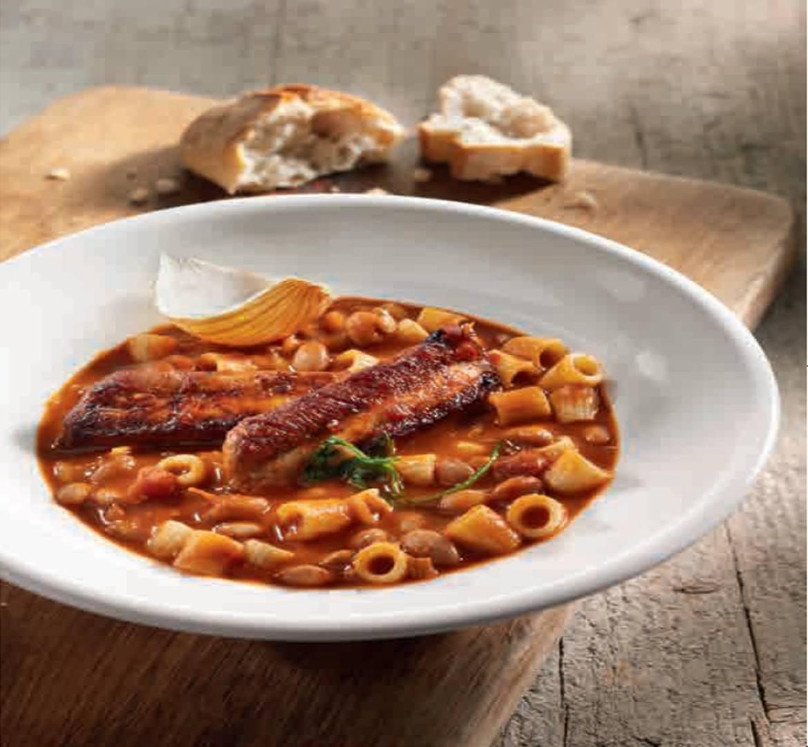 Weiße Bohnen mit Ditali Nudeln und Salsa Paradiso Tomatensauce